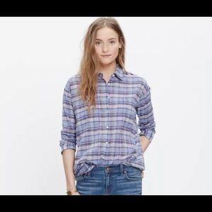 Madewell Wrinkly Plaid Button-down Shirt Sz M